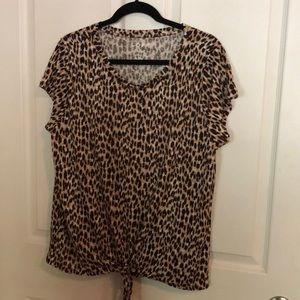 Loft Linen Leopard Print Tie Top-XL